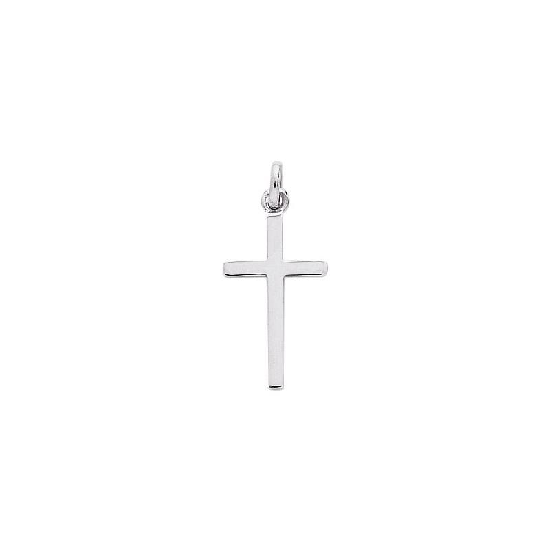 Pendentif relief croix en Or blanc 750/000 CARADOR