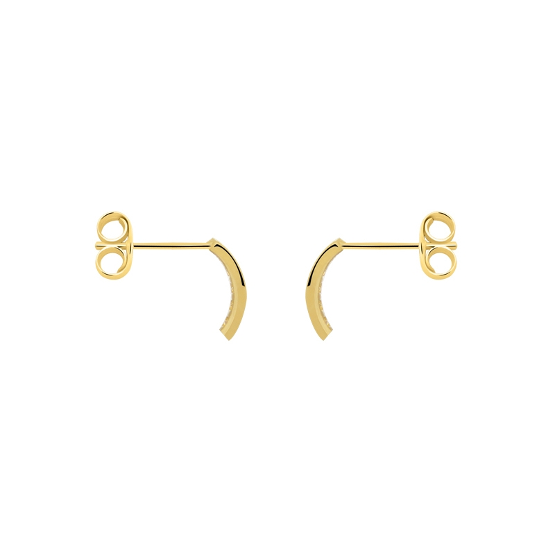 Boucles d'oreilles Carador demi-créoles empierrées en or jaune 375/000 et zircons