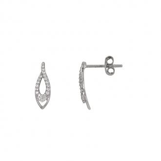 Boucles d'oreilles gouttes Carador pendantes en or blanc 375/000 et oxydes de zirconium