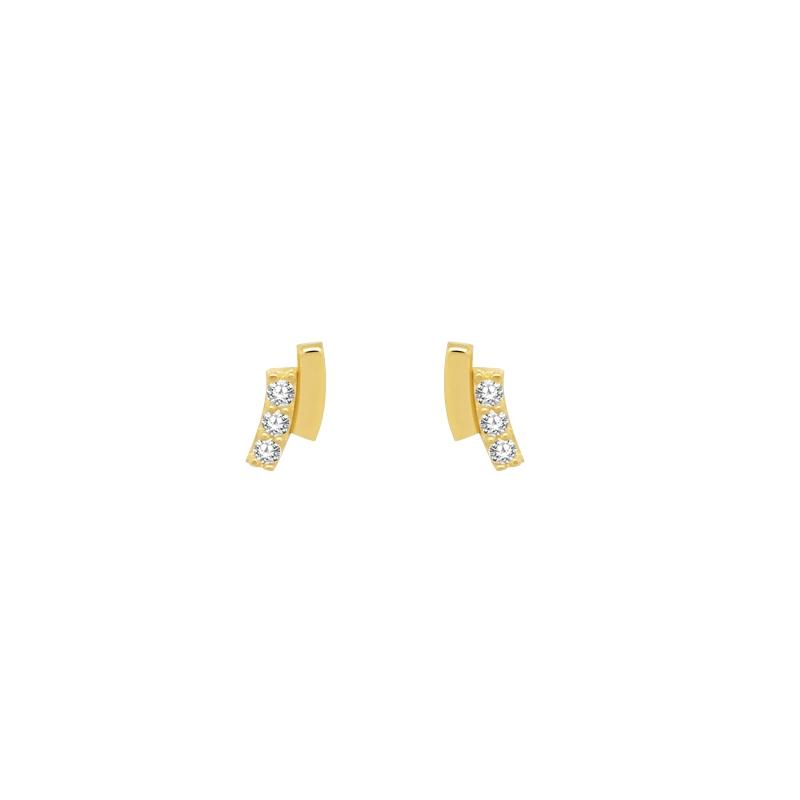 Boucles d'oreilles Carador trilogie double barrette en or jaune 375/000 et oxydes de zirconium