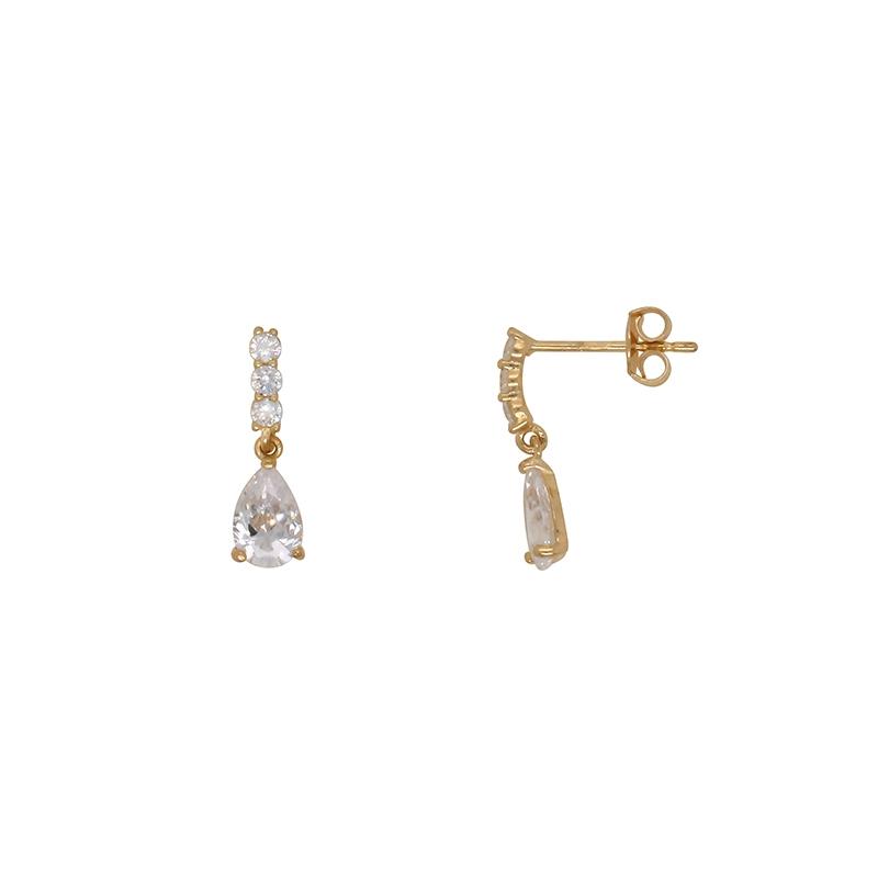 Boucles d'oreilles Carador trilogie accompagnée d'une goutte d'eau en or jaune 375/000 et oxydes de zirconium