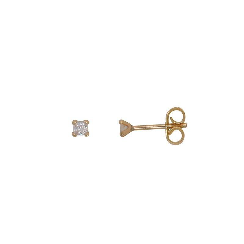 Boucles d'oreilles clous Carador en or jaune 375/000 et oxydes de zirconium princesses