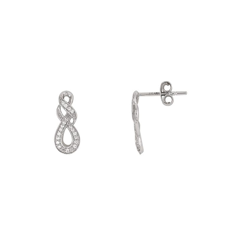 Boucles d'oreilles croisées Carador pendantes en or blanc 375/000 et oxydes de zirconium
