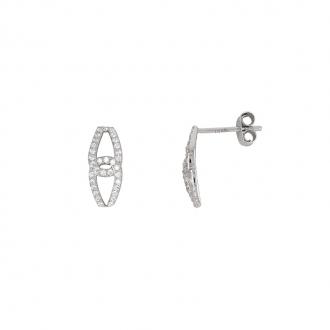 Boucles d'oreilles motif croisé Carador pendantes en or blanc 375/000 et oxydes de zirconium
