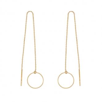 Boucles d'oreilles traversantes Cercles Carador en or jaune 375/000