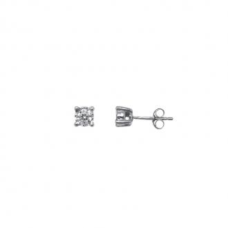 Boucles d'oreilles Carador Or blanc 375/000 et diamant 0.20 cts