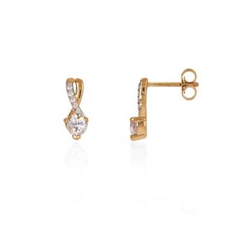 Boucles d'oreilles amour étenel Carador en or jaune 375/000 et oxydes de zirconium