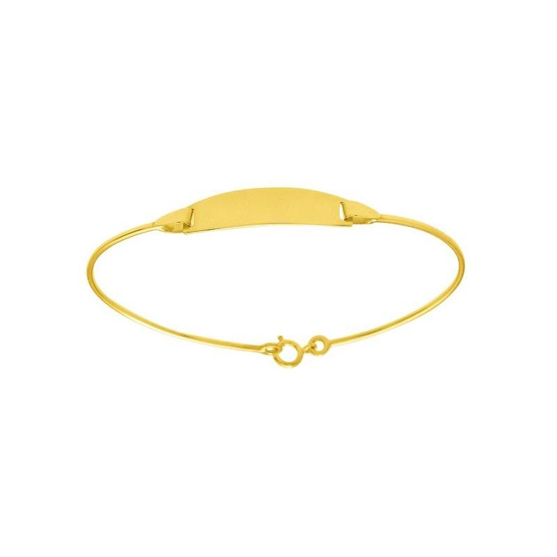 Gourmette identité jonc Carador en or jaune 750/000, plaque rectangulaire