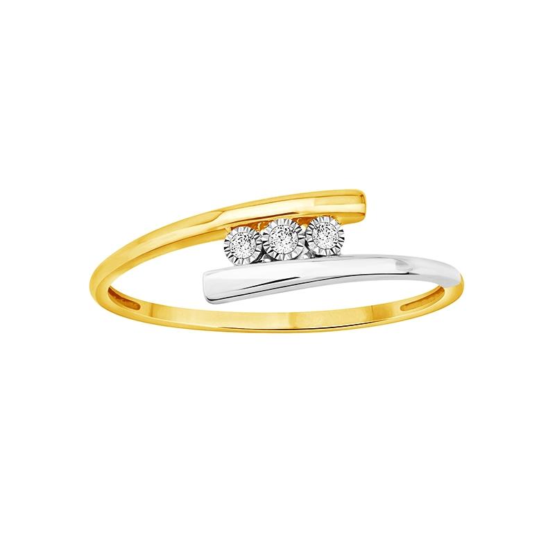 Bague Carador trilogie or jaune et blanc 375/000 et diamants 0,03 cts