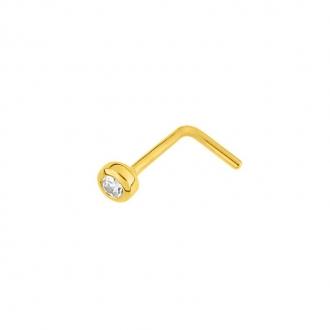 Piercing de nez de chez carador en  or jaune 750/000, oxyde de zirconium serti clos