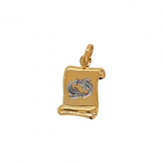 Médaille Carador parchemin poisson or bicolore 750/000