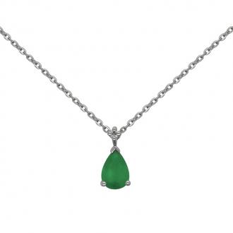 Collier Joaillerie Carador forme goutte en or blanc 750/000, émeraude et diamant