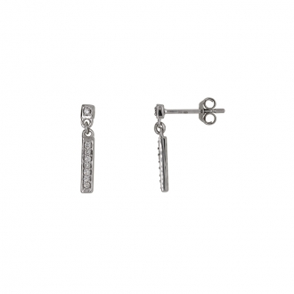 Boucles d'oreilles pendantes barrette Carador en or blanc 750/000 et diamants