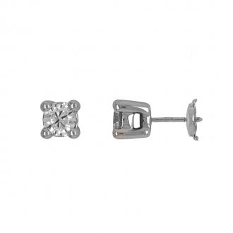 Boucles d'oreilles Carador diamant 0,70 cts or blanc 750/000