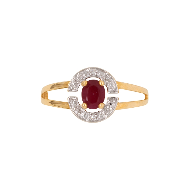 bague éternelle Carador en or jaune 750/000, diamants et rubis