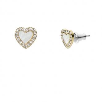 Boucles d'oreille en acier doré motif cœur FOSSIL JF03215710