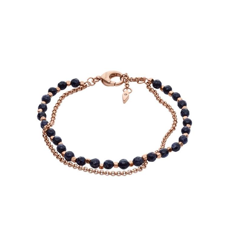 Bracelet double en acier rose et agate noire FOSSIL JA7009791
