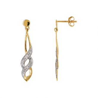 Boucles d'oreilles Tresse bicolore Carador en or 750/000 et diamants