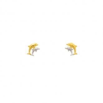 Boucles d'oreilles en or bicolore 750/000 deux dauphins