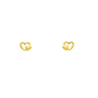 Boucles d'oreilles en or jaune 750/000 double cœurs
