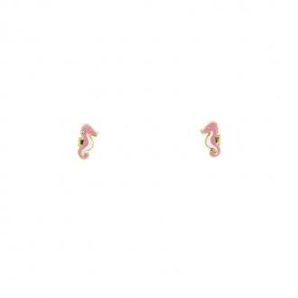 Boucles d'oreilles en or jaune 750/000 forme hippocampe