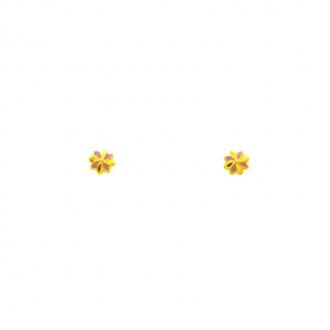 Boucles d'oreilles en or jaune 750/000 forme fleur