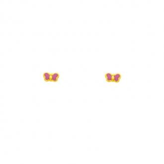 Boucles d'oreilles en or jaune 750/000 forme papillon