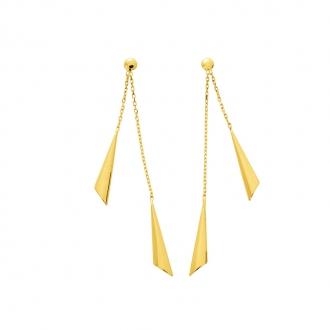 Boucles d'oreilles double pendantes motif triangle en or jaune 750/000 CARADOR