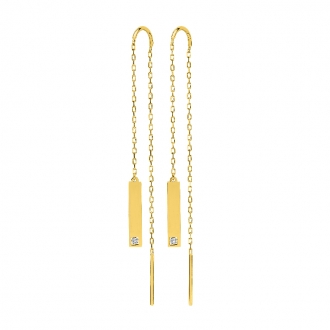 Boucles d'oreilles barette plate pendantes en or jaune 750/000 et diamant CARADOR