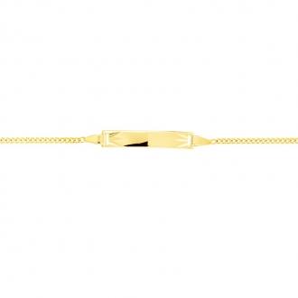 Carador - Gourmette bébé or jaune 375/000 maille gourmette plaque rectangulaire