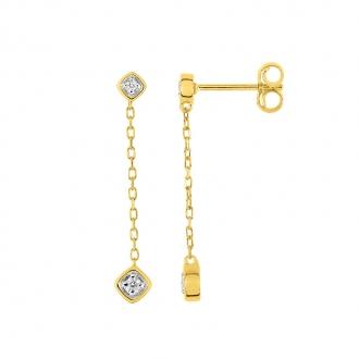 Boucles d'oreilles pendantes en or jaune 750/000 et diamants CARADOR