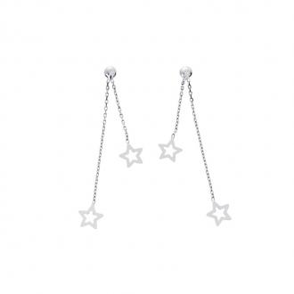 Boucles d'oreilles pendantes étoiles en or blanc 750/000 CARADOR