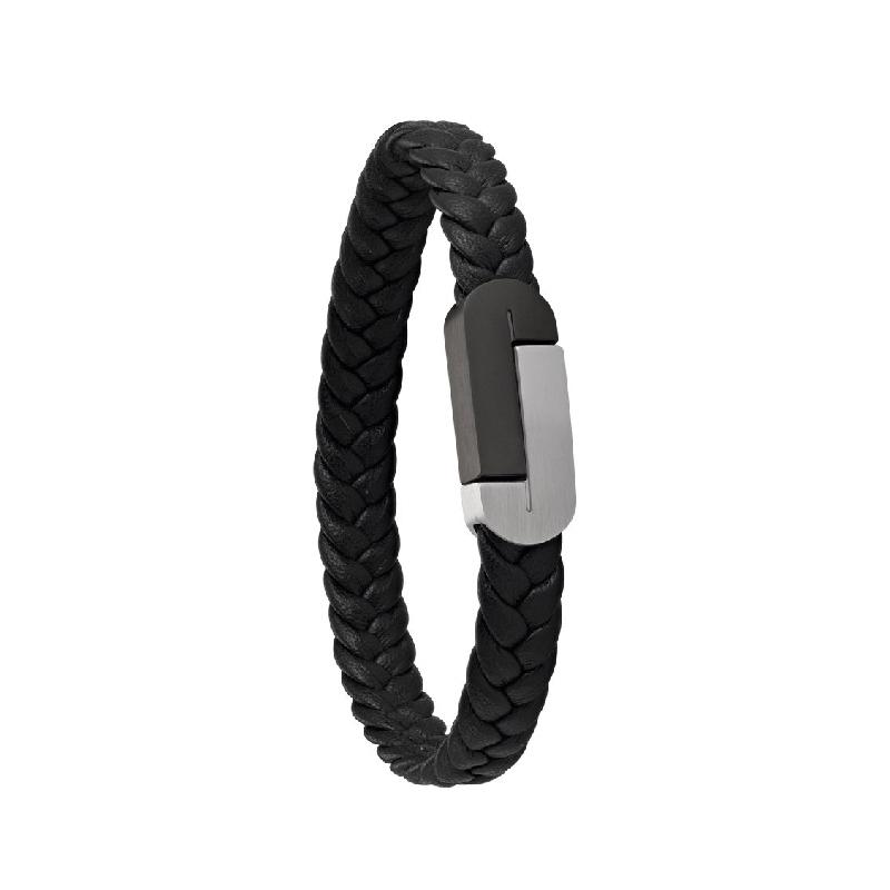 Bracelet acier Jourdan Corto en cuir UN 017 H
