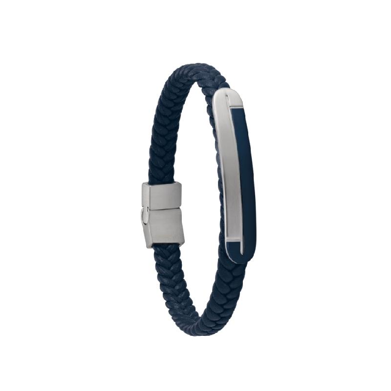 Bracelet acier Jourdan Alfonso en cuir bleu UN 020 H