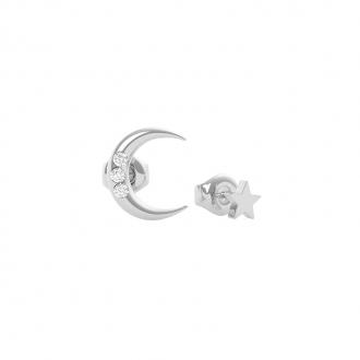Boucles d'oreilles Get Lucky lune Guess en acier argenté UBE29009
