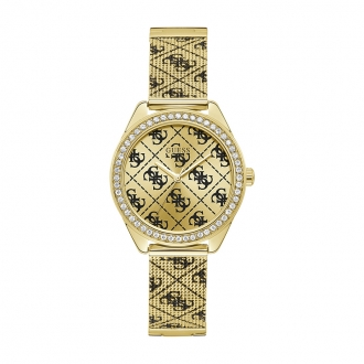 Montre logo 4G All Over Guess en acier doré W1279L2