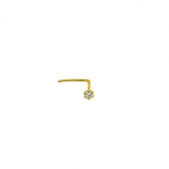 Piercing nasal Carador or jaune 375/000, oxyde de zirconium