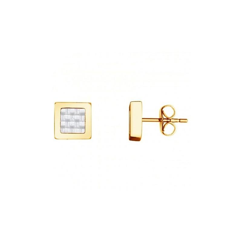 Boucles d'oreilles Phebus carrées acier et carbone 87-0021