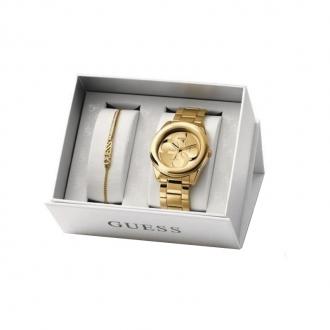Coffret Chelsea Guess montre + bracelet acier doré UBS84306