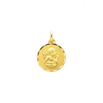 Médaille religieuse ronde Carador ange en or jaune 750/000