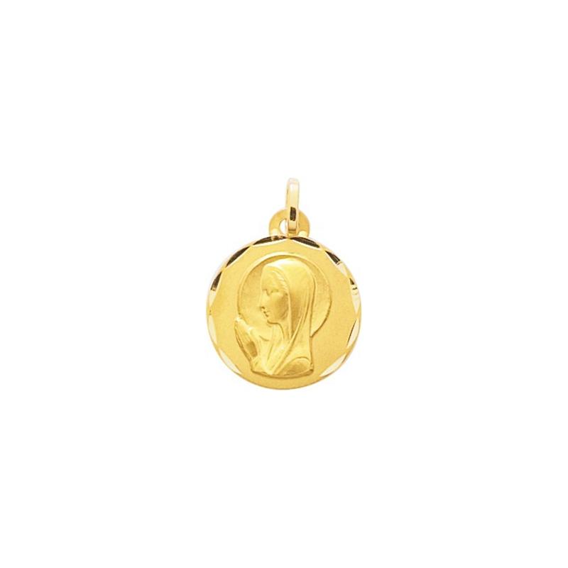 Médaille religieuse ronde Carador vierge en or jaune 750/000