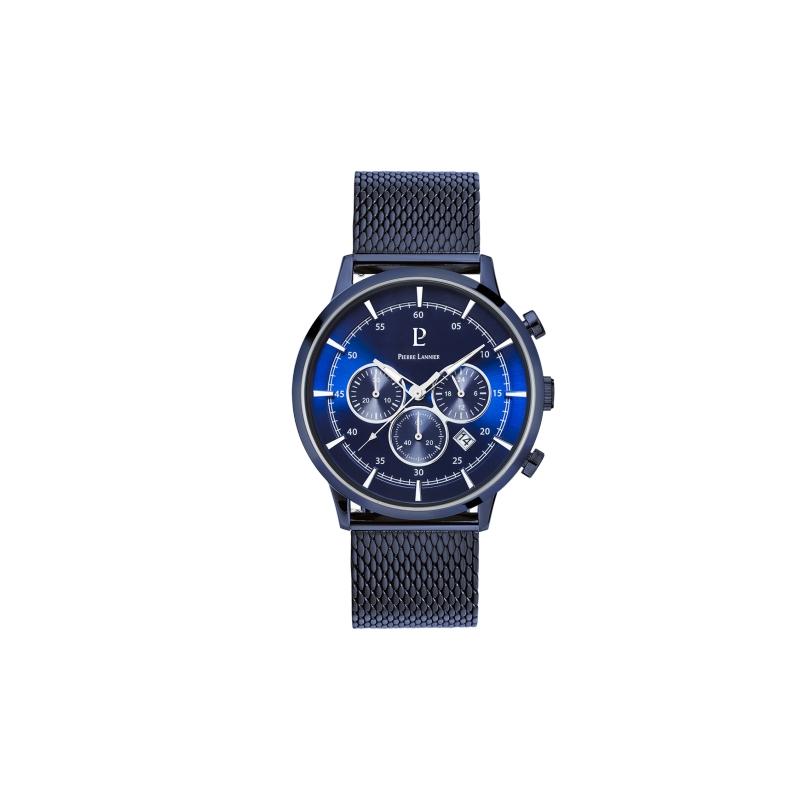 Montre Homme Pierre Lannier multifonctions acier bleu 230D466