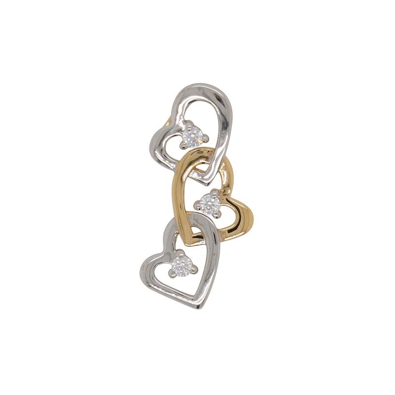 Pendentif Coeurs enlacés Carador en or blanc et jaune 375/000 et oxydes de zirconium