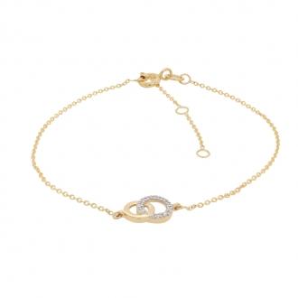 Bracelet en or jaune 375/000 et oxydes de zirconium motif cercle