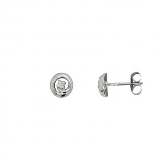 Boucles d'oreilles cercle Carador en or blanc 375/000 et diamant
