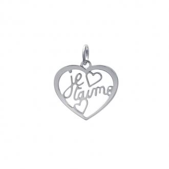 """Pendentif CARADOR argent 925/000 cœur inscription """"Je t'aime"""""""