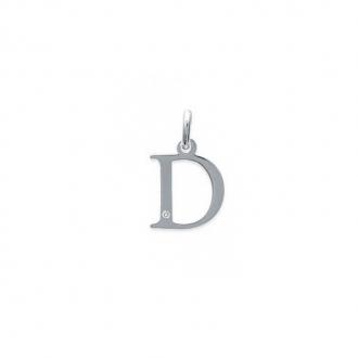 "Pendentif initiale ""D"" argent 925/000 et Oxyde de zirconium CARADOR"