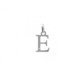 "Pendentif initiale ""E"" argent 925/000 et Oxyde de zirconium CARADOR"