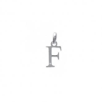 "Pendentif initiale ""F"" argent 925/000 et Oxyde de zirconium CARADOR"