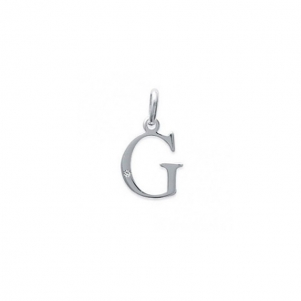 "Pendentif initiale ""G"" argent 925/000 et Oxyde de zirconium CARADOR"